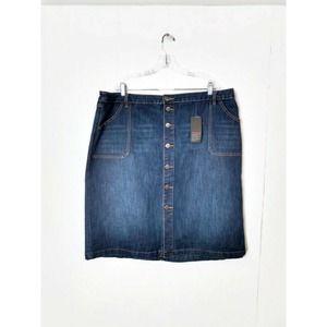Avenue NWT Denim Skirt Midi Button Front